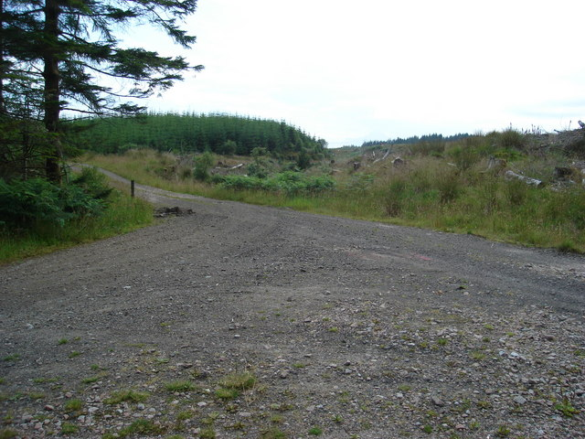 Junction of forestry tracks in Barcaldine forest west of Dubh Loch Mor