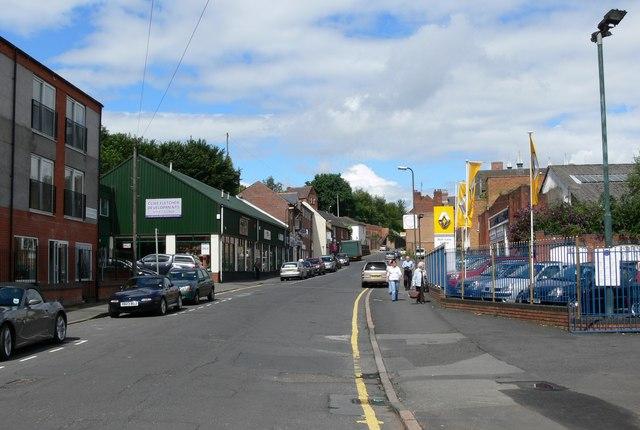 Looking up Mill Street in Kidderminster