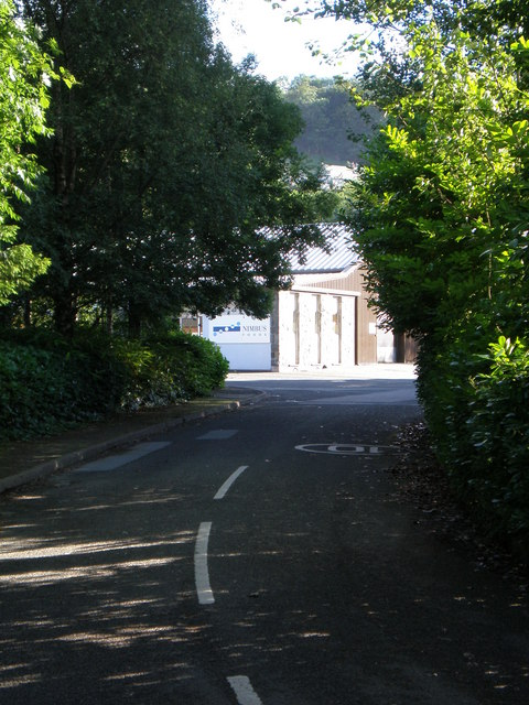 Road leading into the Marian Mawr enterprise park.