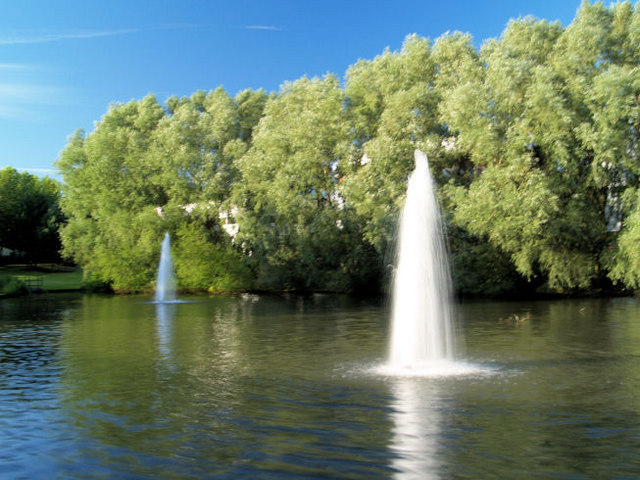 Fountains in man made lake.