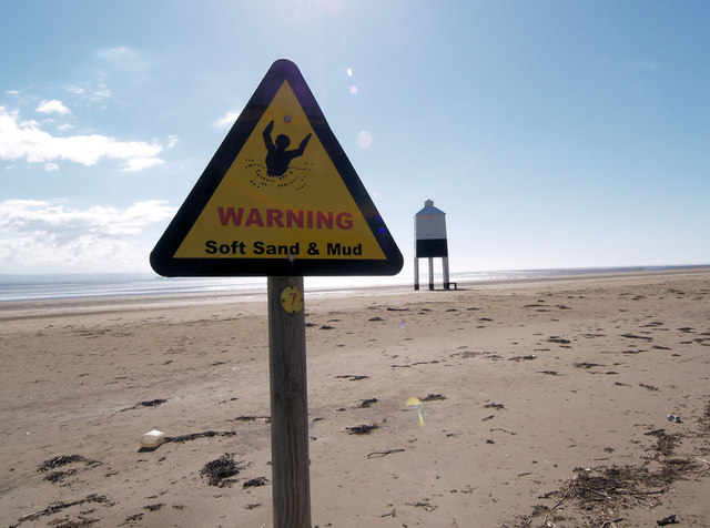 Warning sign on beach.