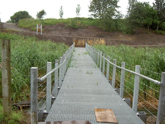 New footbridge into reclaimed land.