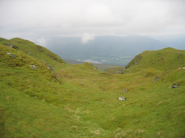 View from the ridge down towards the western end of Loch Tay