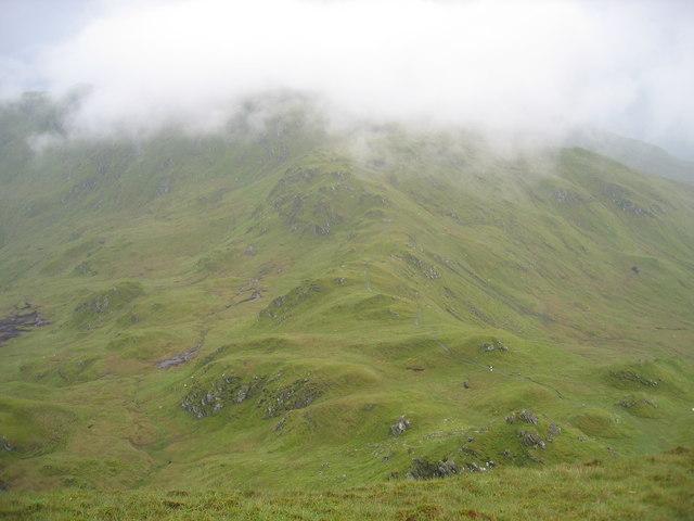 The bealach between Beinn nan Eachan and Creag na Caillich