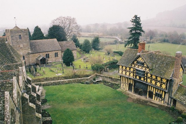 Stokesay: castle courtyard and parish church