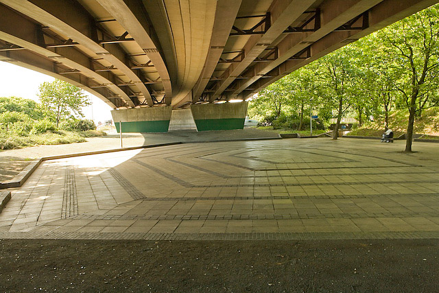 Subway junction beneath Rudmore roundabout of the M275, near Wharf Road, Portsmouth