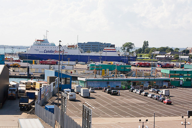 Vehicles lining up to embark at the continental ferry port, Portsmouth