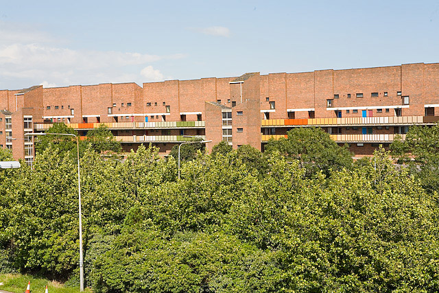 Council flats backing onto the M275, Portsmouth