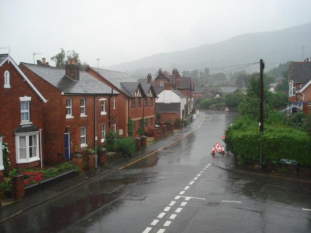 Court Road Malvern on a very wet day