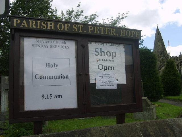 Church notice board, Hope