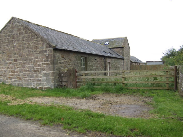 Stone farm buildings in North Charlton