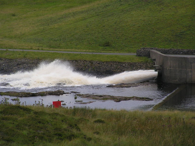 Water being released at the foot of the dam.