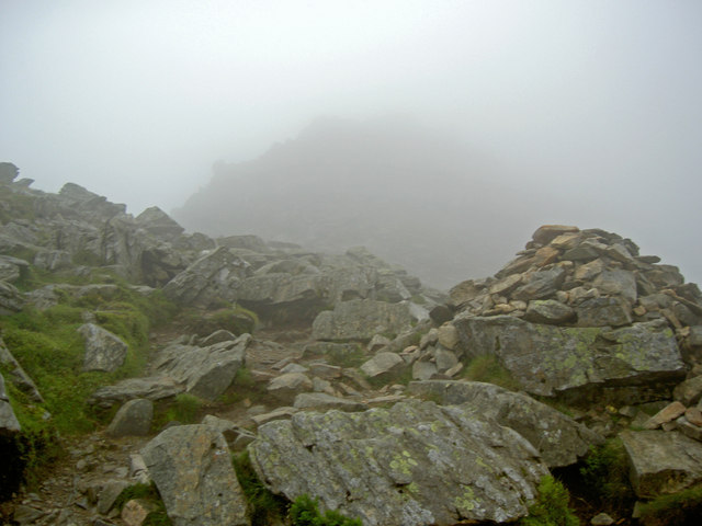 The last cairn before High Spying How