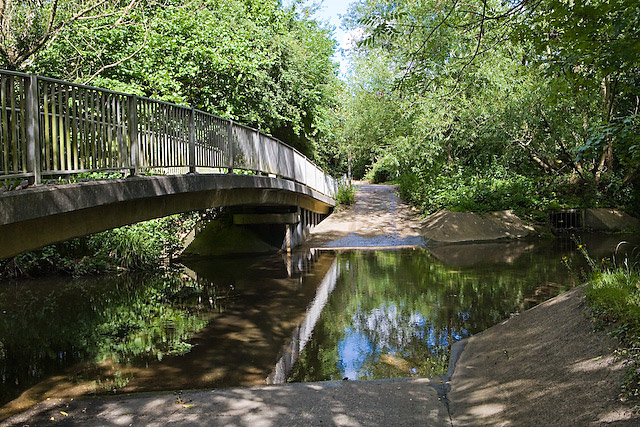 Ford and footbridge over Monks Brook, Eastleigh