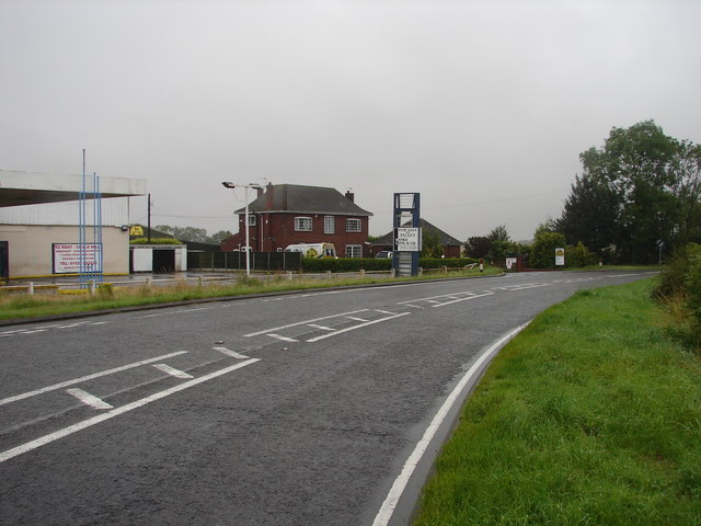 Buildings at bend in A46