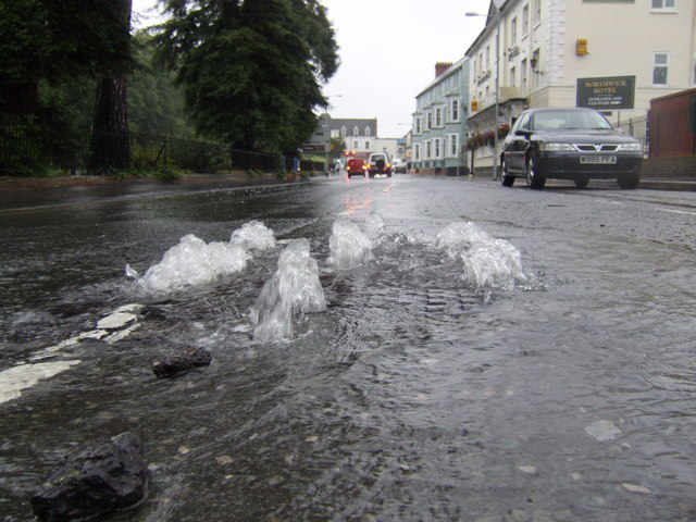 Overflowing drain, Waterside, Evesham
