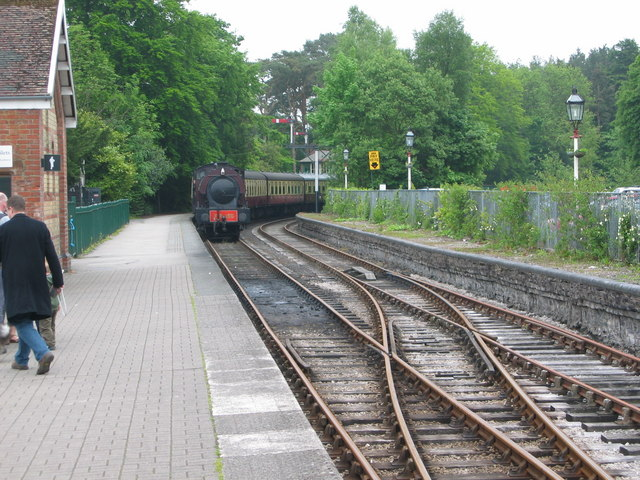 Haverthwaite Steam Railway locomotive arriving at Lakeside Station