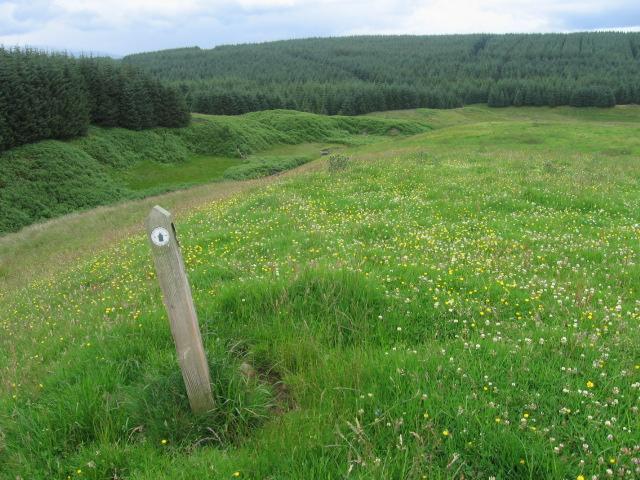 Path waymark below Lamb Rig
