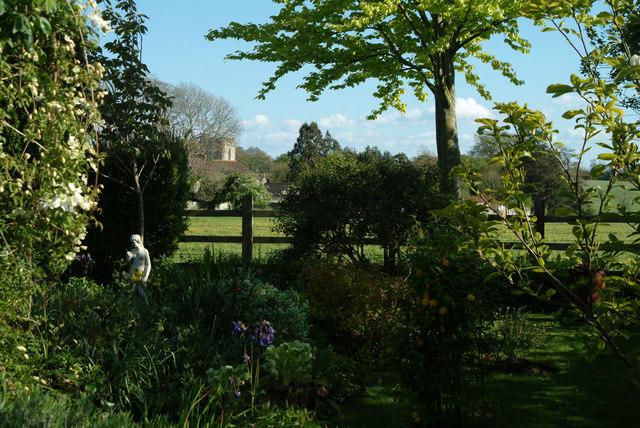 Cossington church seen from a village garden