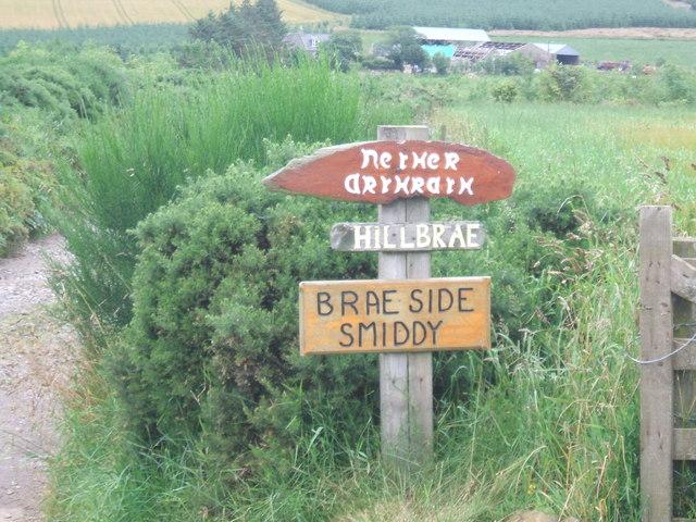 Road end signage at Arthrath