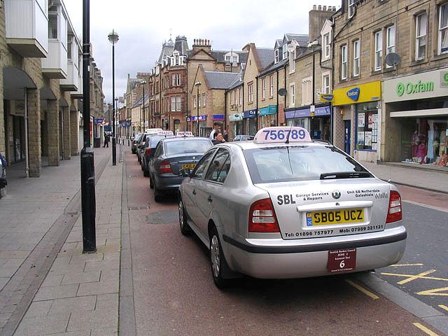 Taxi rank in Channel Street, Galashiels