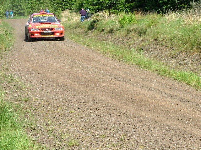 Rally car in Castle O'er Forest