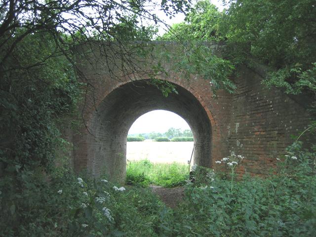 Disused railway bridge, seen from tip of Binny's Wood
