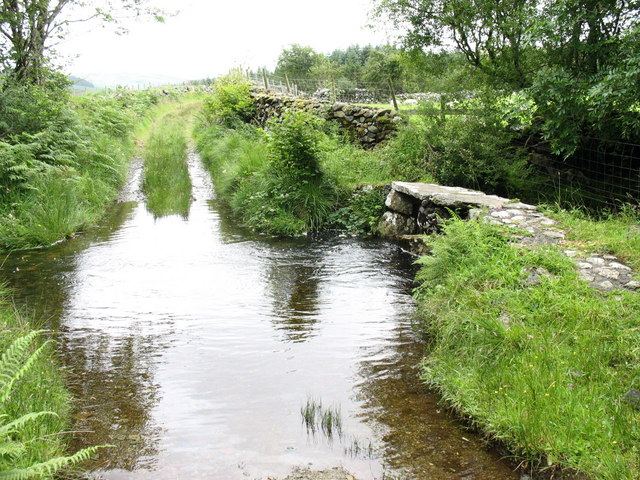 Ford and footbridge on the old drovers' road to Llanfachreth