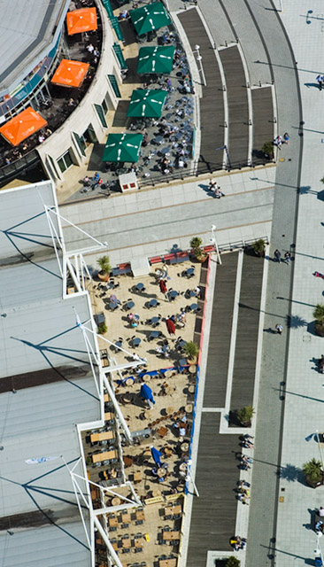 Looking down on bars and restaurants at Gunwharf Quays from Spinnaker Tower