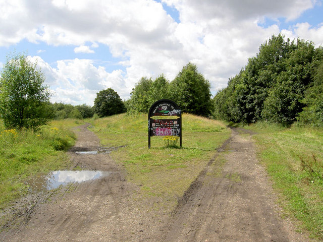 Trans Pennine trail junction at Aldham.