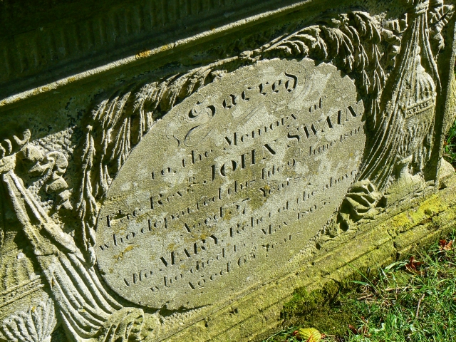 Table tomb inscription, St Andrew's churchyard, Wootton Rivers