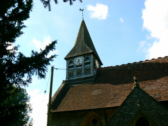 St Andrew's church clock tower, Wootton Rivers