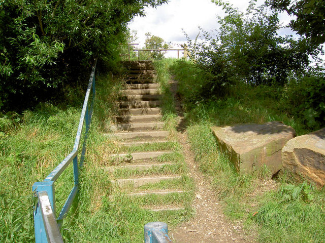 Steps on footpath.