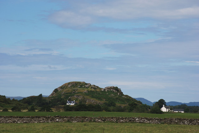 View of Dunadd hill fort from A816