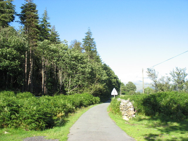 Minor road by Coed Garw