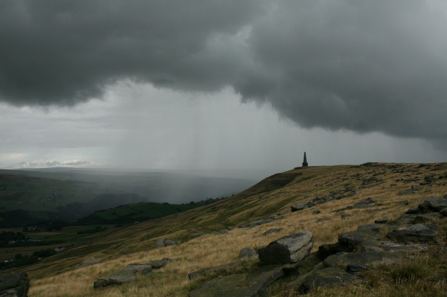 A Shower Passes By Stoodley Pike Monument.