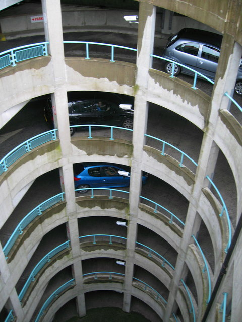 of the 950 space six storey car park in Spindles Shopping Centre Oldham.