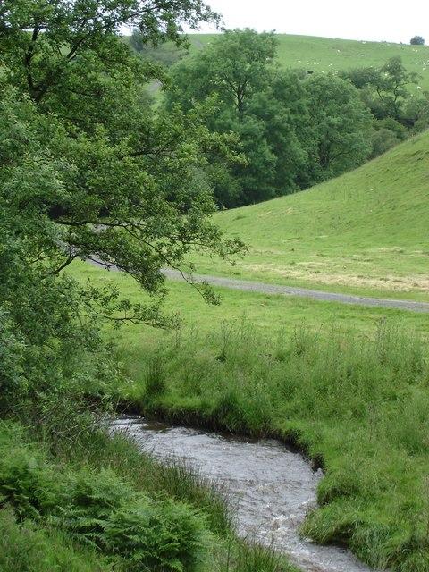 View up valley north west from Cwm Garthen bridge