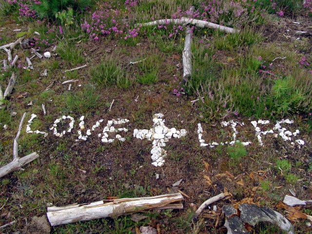 Message in bleached white stones, Bisterne Common