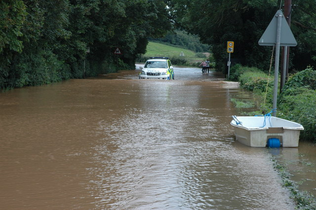 Flooded A38 at Severn Stoke