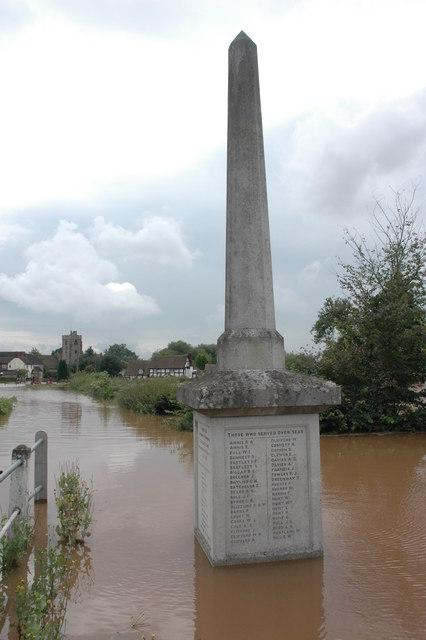 Flooded War Memorial at Severn Stoke