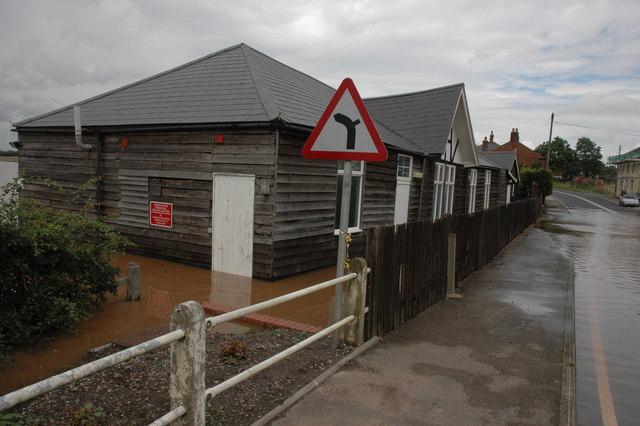 Flooded Parish Hall in Severn Stoke