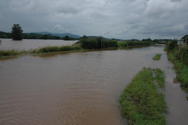 Flooded A38 near Severn Stoke