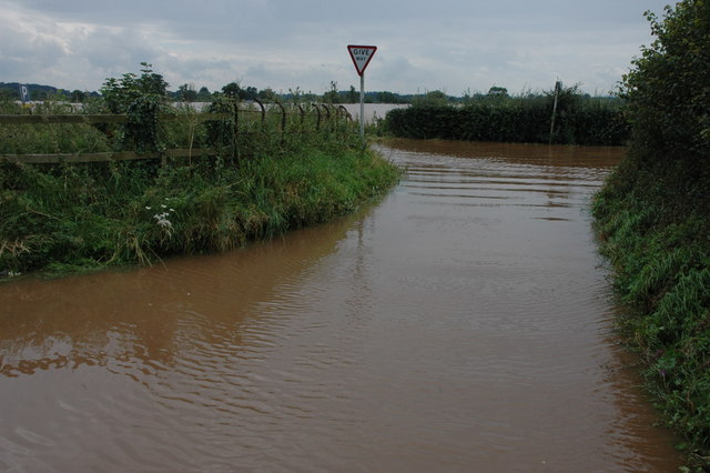 Flooded road junction on A38, Severn Stoke