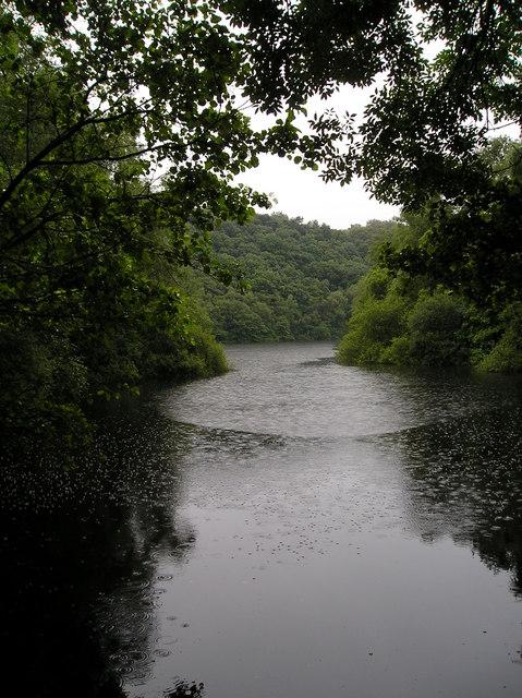 Grizedale Reservoir in the rain.