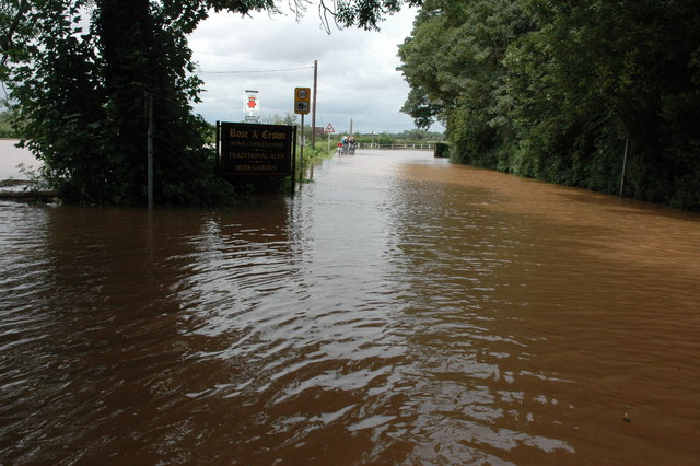 The flooded A38 through Severn Stoke