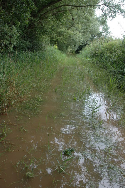 Flooded bridleway from Stonehall to Baughton