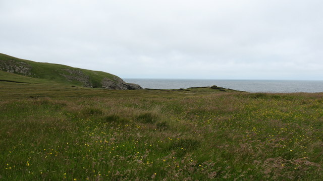 Grassy clifftop near Tiumpan Head
