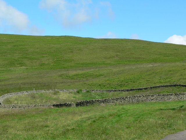 Round walled stockade below Singlie Hill