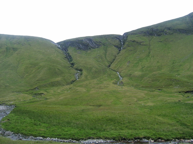 Allt Feith Slataich and Allt a'Chadha Dearg flowing down